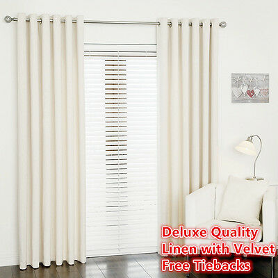 Quality Blockout Eyelet Curtains Linen Velvet Thermal Insulated Creamy White