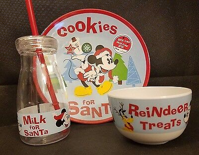 Zak Designs Mickey Christmas Dining Set Plate Bowl Bottle Cookies For Santa Dish