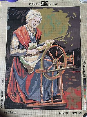 SEG DE PARIS Tapestry canvas LA FILEUSE unstitched AS NEW from 1985 RARE!