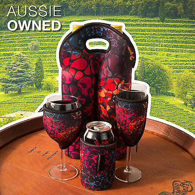 Cooler Set Floral Wine / Champagne Glass Cooler set with Bottle Bag & Can