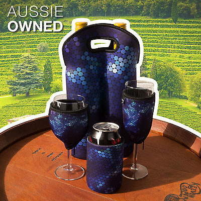 Set  Wine Champagne Glass Cooler set Bottle Bag & Can Cooler Neoprene Blue Black