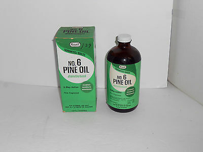 1960's Vintage 1 Pint Rexall No. 6 Pine Oil Disinfectant Mib Never Used