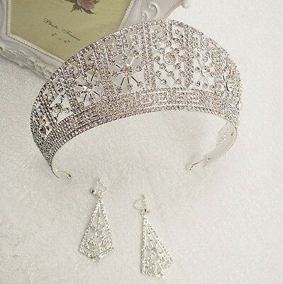 6cm High Crystal Tiara Earrings Set Wedding Party Pageant Prom Crown - 2 Colors