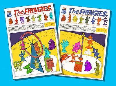 The FRINGIES * QUALITY REPROs OF *BOTH* MEGA-RARE 1970 R&L CEREAL TOY PANELS