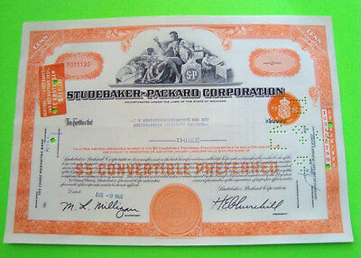 1960's STUDEBAKER PACKARD STOCK CERTIFICATE Orange ORIGINAL  100 Shares XLNT