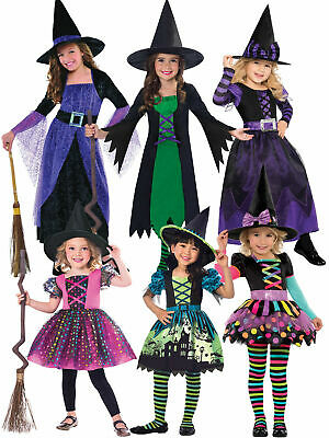 Girls Halloween Witch Costume Toddler Fancy Dress Outfit Childrens Party Witches