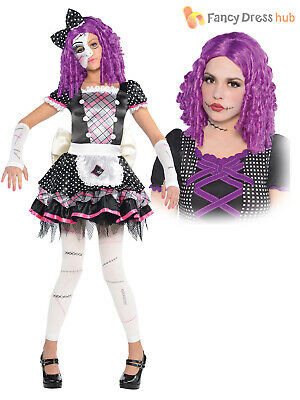 Girls Broken Damaged Doll Halloween Costume Zombie Kids Fancy Dress Party