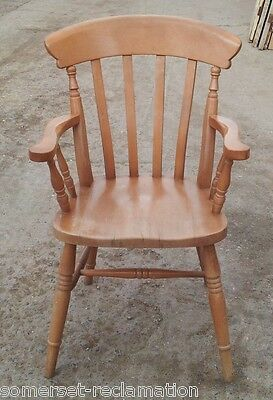 Reclaimed Beech Slat Back Farmhouse Kitchen Carver Chair