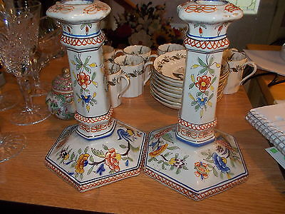 Pair French Faience Candleholders  H-104