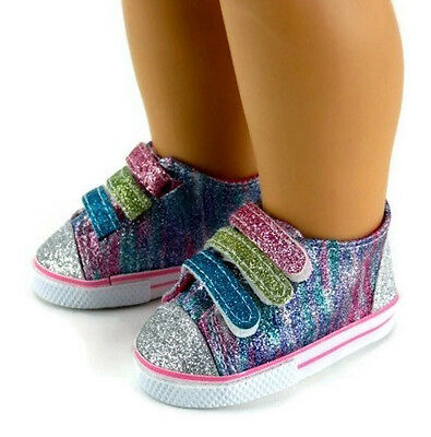 "Rainbow Glitter Tennis Shoes Sneakers made for 18"" American Girl Doll Clothes"