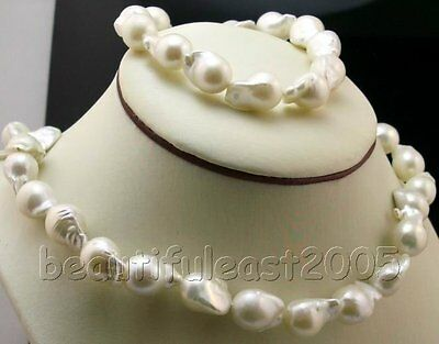 Lovely irregular Baroque Nuclear pearl 11-15mm necklace&bracelet sets 925s clasp
