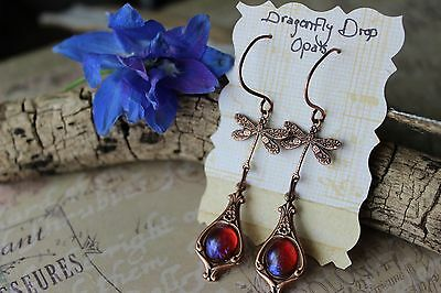 Copper Dragonfly Dropped Dragon's Breath Earrings Huge Sale Free Shipping