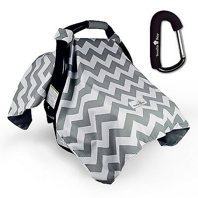 Bonafide Baby Car Seat Covers With Free Stroller Hook - Grey Chevron With Sof...