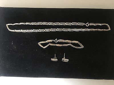 Vintage 925 Silver Modernist Chain Bracelet And Earings