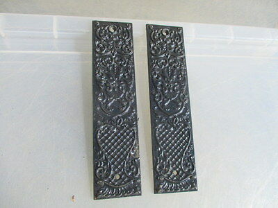 "Vintage Cast Iron Finger Plates Push Door Handles Old  ""Russell & Erwin"" USA"