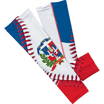 Dominican Republic Flag Baseball lace Arm Sleeves