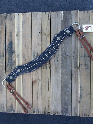 Gator Silver Stud Show Leather Trail Pleasure Roper Tripping Horse Breast Collar
