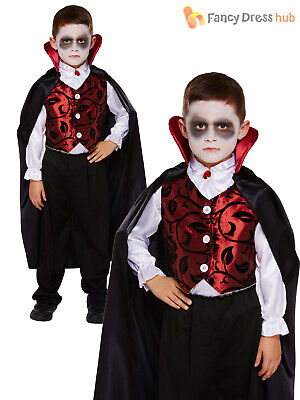 Childrens Deluxe Vampire Costume Boys Dracula Halloween Fancy Dress Kids Outfit