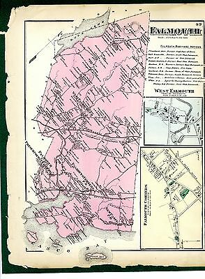 1871 Map of Falmouth, Maine, from Beers' Cumberland County Atlas - rare original