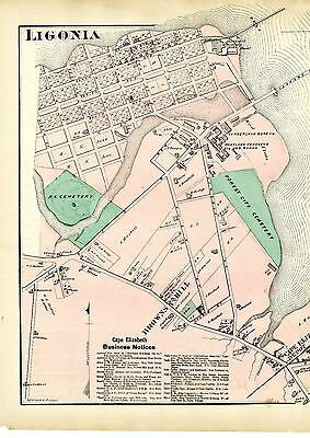 1871 Map of Ligonia & Turners Island, Maine, from Beers' Cumberland County Atlas