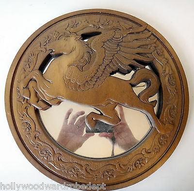 Pegasus Round Mirror vtg 1970s fairy wood carving msc hardin unicorn fairy wicca