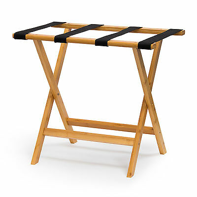 Bamboo Luggage Rack Wooden Travel Accessory Easy Packing Suitcase Holder Stand