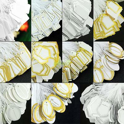 500pcs Retail Jewelry Watch Tie On String Strung Display Paper Price Tags Labels