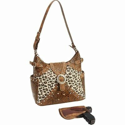 Brown Faux Leather Western Style CCW Purse Concealed Carry Hand Bag Gun Holster