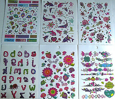 Girls Temporary Tattoos Words Ladybirds Fish Hearts Letters Flowers Uk Seller