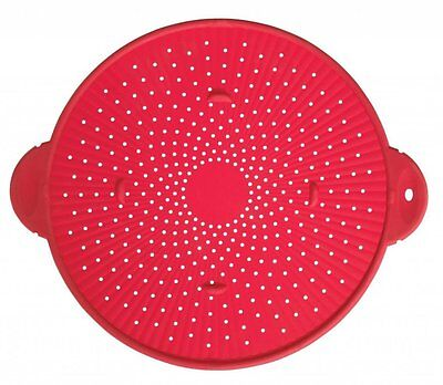 "Silicone Splatter Guard Skillet Pot Pan Cover Strainer Trivet Round 11"" Red"