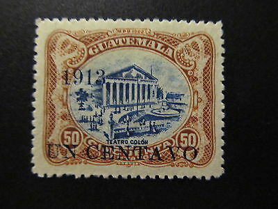 1913 - Guatemala - Surcharged In Black - Scott  151 A34 1C On 50C