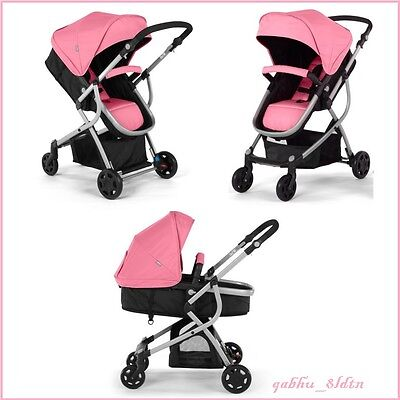 Baby Stroller 2in1 Infant Carriage Buggy Bassinet Reversible Seat Urbini Pink