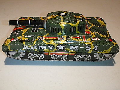 Vintage SN ARMY M-54 TANK FRICTION MADE IN JAPAN TIN TANK