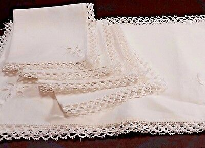 Vtg Heavily Embroider White Linen Luncheon Placemats Napkins 4 Set Tatted Edging