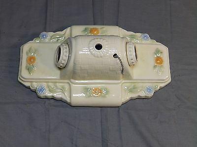 Vintage Ceramic Porcelain Ceiling Light Fixture Flush Mount Floral 1449-16