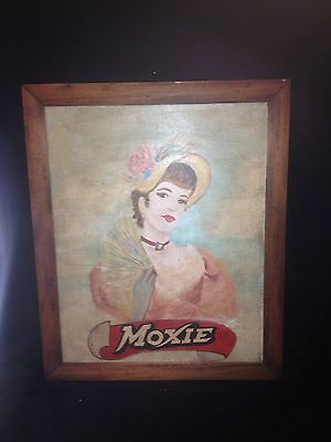 """Rare 1950's 22 3/4"""" Moxie Soda Advertising Painting Sign W/victorian Woman"""