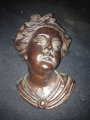 1930's Carved Wood Woman's Head Pediment • CAD $208.70