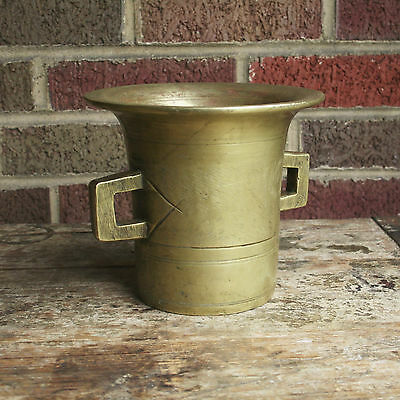"""Heavy Solid Brass Apothecary Druggist Mortar 8lbs 6"""" Tall Hand Crafted Large VTG"""