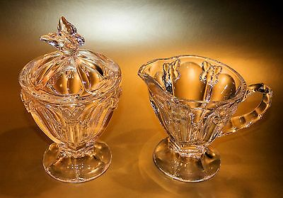 Lenox Crystal BUTTERFLY MEADOW Creamer and Sugar Bowl with Lid, MINT, No Box