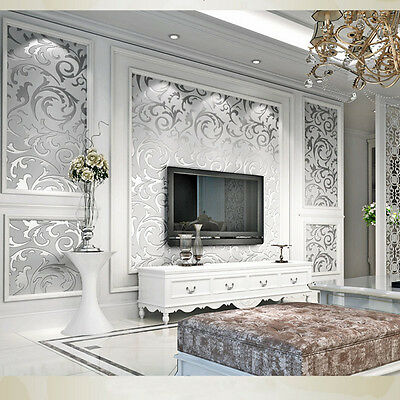 Luxury 3D Victorian Damask Embossed Feature  Rolls TV Background