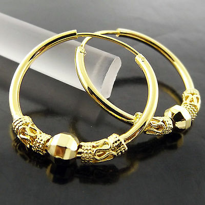 A583 Genuine Real 18Ct Yellow G/f Gold Classic Bali Style Bead Hoop Earrings