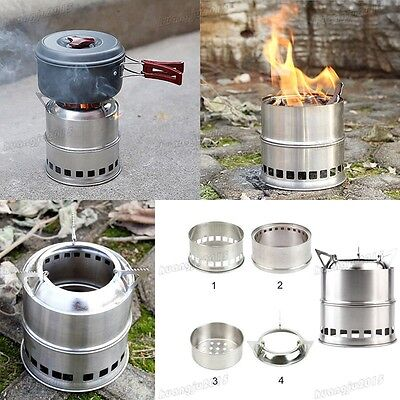 Wood Alcohol Burning Outdoor Camping Picnic BBQ Stove Cooker Stainless Steel UK