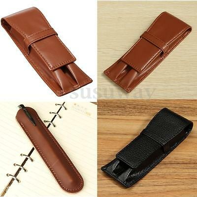 Black Brown Genuine Leather Double Roller Pen Pouch Sleeve Bag Case Holder