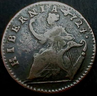 R941: 1724 Woods Copper Halfpenny - was currency in early America. Rare Date