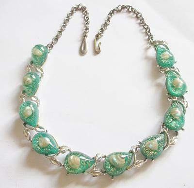 Vintage 1940's Green Confetti Lucite Panel Necklace Set With Seashells