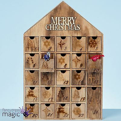 40cm Wooden Wood Xmas Merry Christmas House Countdown Advent Calendar Decoration
