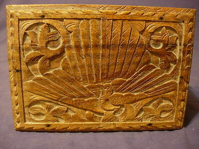 Old Carved Wooden Box - Features Peacock (?)