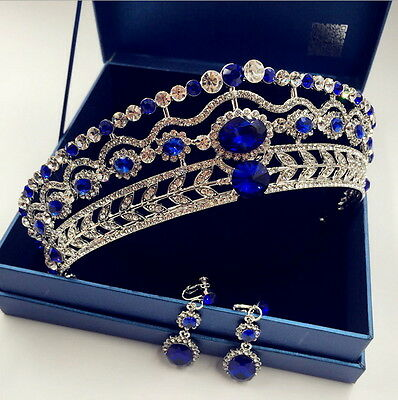 5cm High Crystal Tiara Earrings Set Wedding Party Pageant Prom Crown - 2 Colors