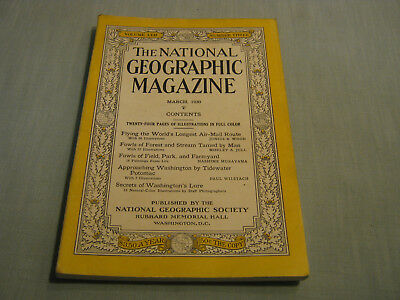 ANTIQUE NATIONAL GEOGRAPHIC March 1930 WORLD'S LONGEST AIR-MAIL ROUTE Potomac
