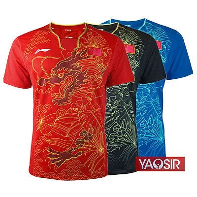 2016 Rio Olympics Li Ning men's Tops table tennis clothing Flag T-shirt